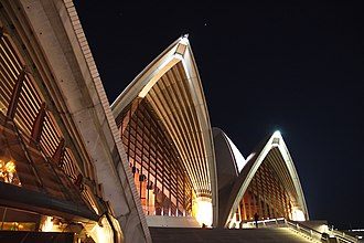 The sails of the Sydney Opera House, arguably the most recognisable building in Sydney Sydney Opera House At Night 2.jpg
