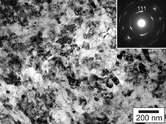 Aggregated diamond nanorod - Image: Synthetic nanodiamond TEM