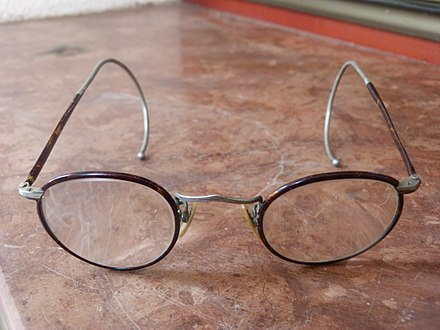 b9c35f4fa238 Glasses, c. 1920s, with springy cable temples
