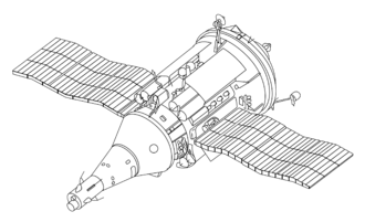 VA spacecraft - An illustration of an TKS spacecraft – the VA spacecraft is below and left to the center of the image, while most of the TKS is the FGB.