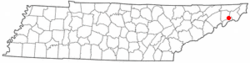 Location of Unicoi, Tennessee