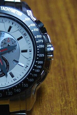 Tachymeter (watch) - Tachymeter scale on a Citizen watch bezel
