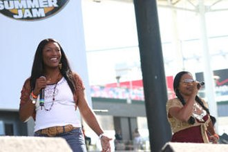 SWV - SWV's Taj (left) and Lelee (right) performing on tour in 2005.