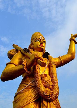 Annamacharya - A statue of Tallapaka Annamacharya situated at the Sarada River Park in Anakapalle, Andhra Pradesh.