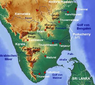 Palar River - Image: Tamil Nadu topo deutsch mit Gebirgen