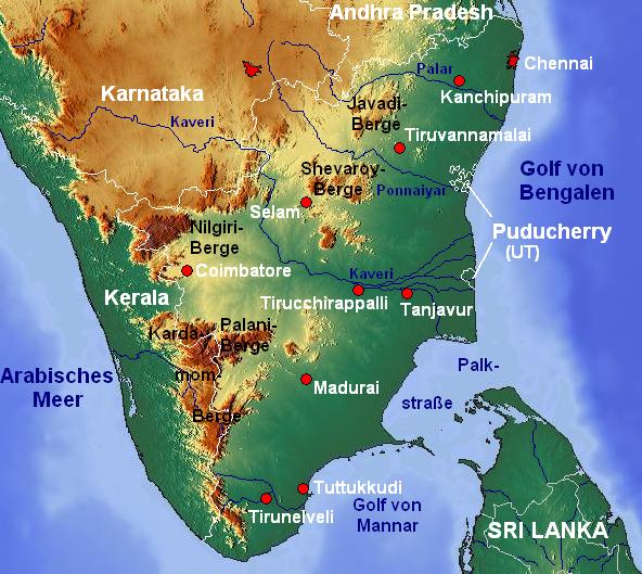 Tamil Nadu topo deutsch mit Gebirgen