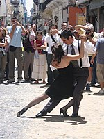 Tango dancer dancing in the street