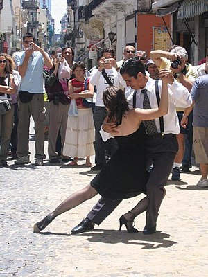 Argentinian tango in the streets of San Telmo,...