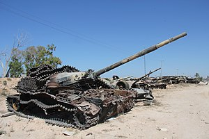 Libyan Civil War (2011) - Destroyed tanks outside Misrata