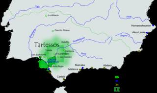 Área aproximada de extensión e influencia de la civilización de Tartessos.