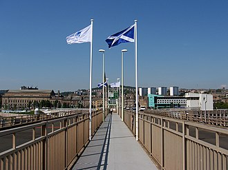 Tay Road Bridge - The Tay Road Bridge walkway during the 50th anniversary celebrations in 2016. View from near end of bridge, looking towards Dundee.