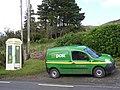 Telephone box and post van, Glenade - geograph.org.uk - 1482689.jpg