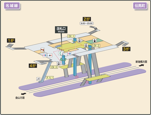Temma-cho station map Nagoya subway's Meijo line 2014.png