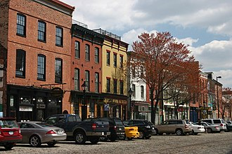 Fell's Point, Baltimore - Storefronts along the Belgian blocks of Thames Street