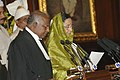 The Chief Justice of India Shri K.G. Balakrishnan administering the oath of the office of the President of India to Smt. Pratibha Patil at a swearing-in ceremony in the central hall of Parliament, in New Delhi.jpg