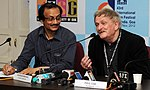 The Director, IFFI, Shri Shankar Mohan with the award winning Australian Film Maker, Paul Cox at press meet, during the 43rd International Film Festival of India (IFFI-2012), in Panaji, Goa on November 28, 2012.jpg