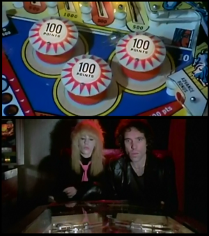 The Driller Killer - An example of the use of cross-cutting POV shots in the film as the protagonist Reno (on the right) plays pinball while Pamela looks on.
