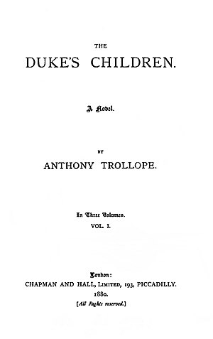 The Duke's Children - Title page to the first edition in book form.