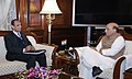 The Governor of Andhra Pradesh and Telangana, Shri E.S.L. Narasimhan calling on the Union Home Minister, Shri Rajnath Singh, in New Delhi on January 09, 2018.jpg