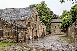 Gawthorpe Hall - The great barn, coach house and old farmhouse to the southwest of the hall