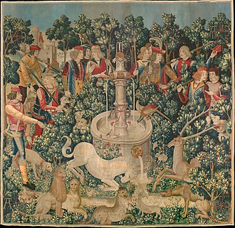 Isatis tinctoria - The Hunt of the Unicorn tapestry, dyed with weld (yellow), madder (red), and woad (blue).