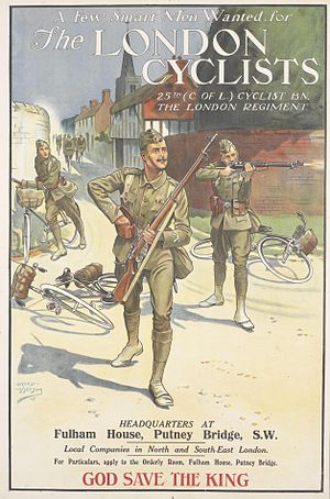 25th (County of London) Cyclist Battalion - The London Cyclists Art.IWMPST0873