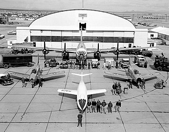 National Advisory Committee for Aeronautics - The NACA Test Force at the High-Speed Flight Station in Edwards, California. The white aircraft in the foreground is a Douglas Skyrocket.