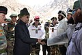 The President, Shri Ram Nath Kovind meeting the soldiers, during his visit to Siachen Base Camp on May 10, 2018. The Chief of Army Staff, General Bipin Rawat is also seen.JPG