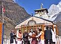 The Prime Minister, Shri Narendra Modi being felicitated on his visit to Kedarnath, in Uttarakhand.jpg