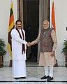 The Prime Minister, Shri Narendra Modi with the President of the Democratic Socialist Republic of Sri Lanka, Mr. Mahinda Rajapaksa, in New Delhi on May 27, 2014.jpg