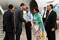 The Prime Minister of the Republic of Slovenia, Mr. Borut Pahor being received by the Minister of State for External Affairs, Smt. Preneet Kaur on his arrival at Palam Air Force Station, in New Delhi on June 13, 2011.jpg