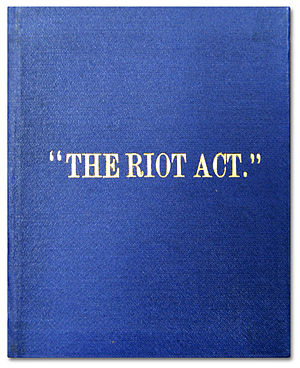 The cover of the British law The Riot Act from...