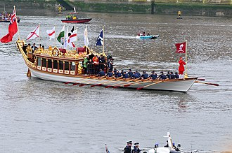 Saint Patrick's Saltire - St. Patrick's Saltire flying for Northern Ireland from The Royal Barge Gloriana at the Thames Diamond Jubilee Pageant on 3 June 2012