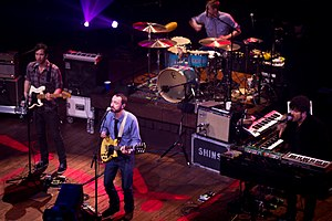 The Shins performing for an episode of Austin City Limits in March 2012