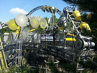 Steel roller coaster - The Smiler an Infinity Coaster holding the inversion record at Alton Towers.