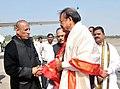 The Vice President, Shri M. Venkaiah Naidu being bid farewell by the Governor of Telangana, Shri E.S.L. Narasimhan and the Deputy Chief Minister of Telangana, Shri Mohammad Mahmood Ali, on his departure, in Hyderabad.jpg