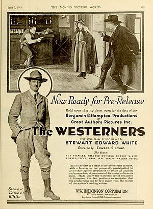 Stewart Edward White - Advertising (1919) for a film based on The Westerners.