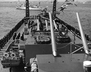 United States Naval Forces Europe - Naval Forces Africa - USS Baltimore at Coronation Naval Review - Spithead (1953)