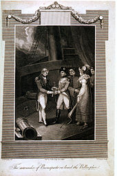 Bordered engraving of a man in uniform on the deck of a sailing ship presenting a second man in uniform with a sword, as two men and a woman in formal clothes watch.
