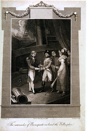 HMS Bellerophon (1786) - The surrender of Buonaparte on board the Bellerophon, a popular, and somewhat stylised, 1816 print by G. M. Brighty, showing the moment of Napoleon's surrender to Captain Maitland