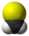 Ball-and-stick model of the thioformaldehyde molecule