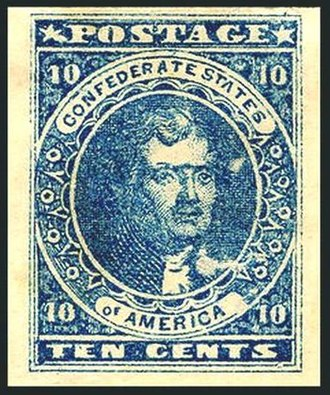 Postage stamps and postal history of the Confederate States - Thomas Jefferson issued 1861