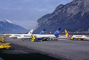 Thomas Cook, Dutchbird, and Monarch 757s at Innsbruck Wedelstaedt.jpg