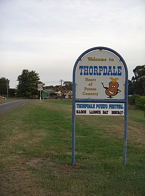 """Thorpdale, Victoria - """"Welcome to Thorpdale - Heart of Potato Country"""""""