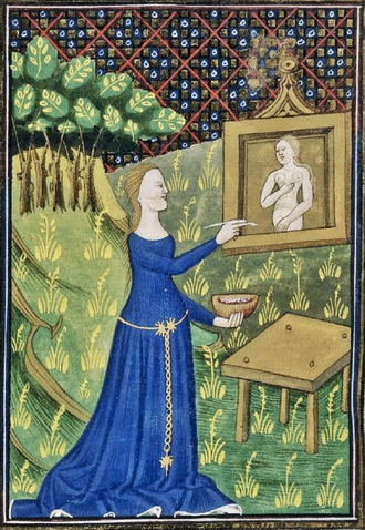 Timarete - Detail of a miniature of Thamyris (Timarete) painting her picture of the goddess Diana, N. France,(Rouen) 15th century .