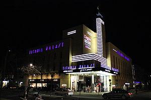 Architecture of the night - Titania Palast movie theater, Berlin, 1928 by Ernst Schöffler, Carlo Schloenbach and Carl Jacobi, original exterior lighting by Ernst Hölscher recreated 1995, photographed in 2011