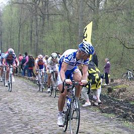 Tom Boonen in het Bos van Wallers-Arenberg in 2009.
