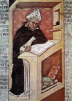 Tommaso da modena, ritratti di domenicani (vescovo) 1352 150cm, treviso, ex convento di san niccolò, sala del capitolo.jpg