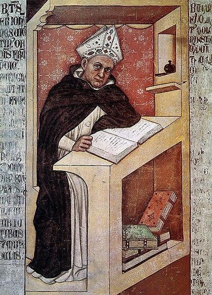 Tommaso da modena, ritratti di somenicani (vescovo) 1352 150cm, treviso, ex convento di san niccolò, sala del capitolo