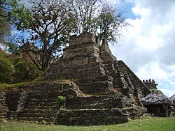 A pyramid on the 5th terrace of the Acropolis at Toniná.